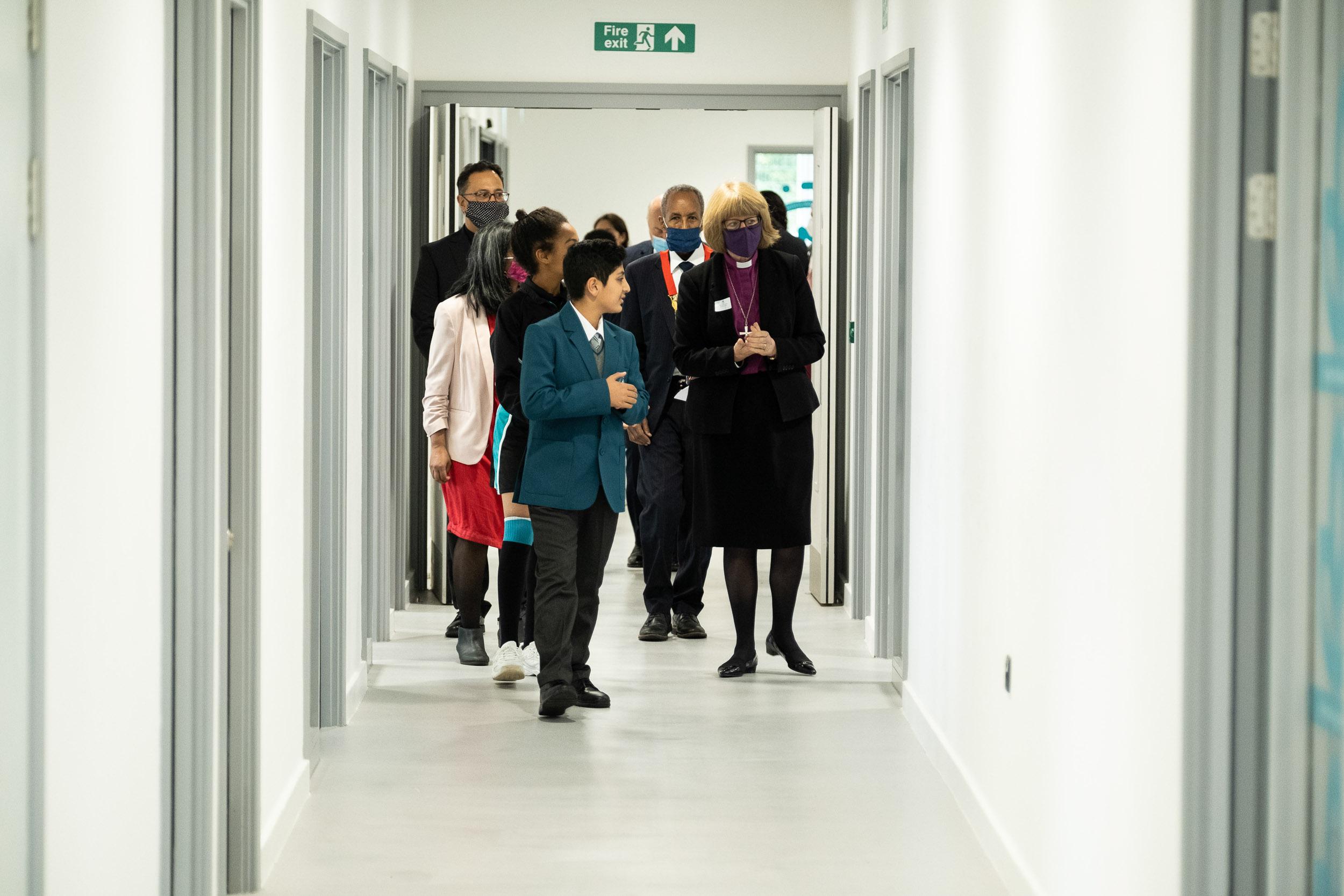 Bishop, students, Mayor, Chaplain in Ada Corridor